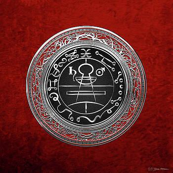 Silver Seal of Solomon - Lesser Key of Solomon on Red Velvet  by Serge Averbukh