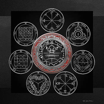 Silver Seal of Solomon over Seven Pentacles of Saturn on Black Canvas  by Serge Averbukh