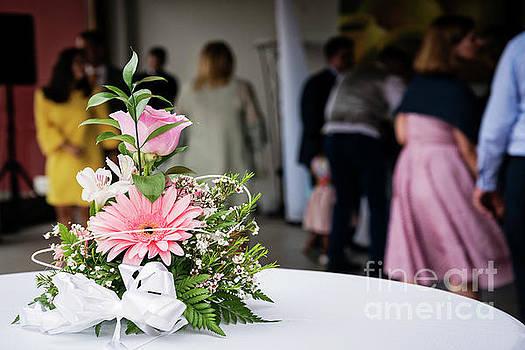 Simple Flower Arrangement Decoration Detail At Wedding Ceremony by Jacek Malipan