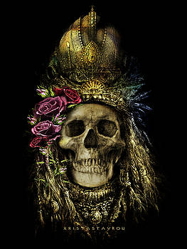 Skull Queen with roses by Xrista Stavrou