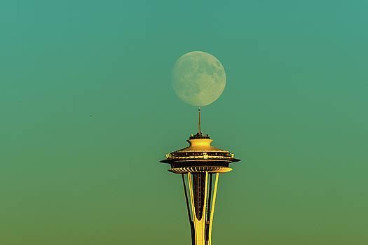 Space Needle with Full moon by Hisao Mogi