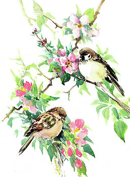 Sparrows And Apple Blossom by Suren Nersisyan