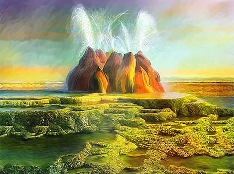 Spitting-Fly Geyser In Nevada by Angela Stanton
