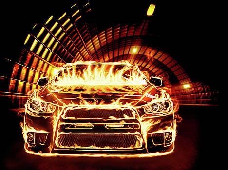 Sports Car in Flames by Oleksiy Maksymenko