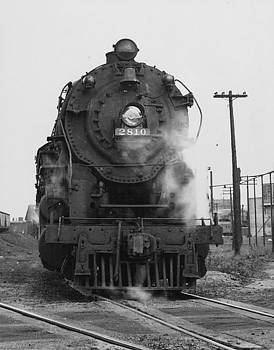 Chicago and North Western Historical Society - Steam Engine 2810 at Servicing Track - 1950