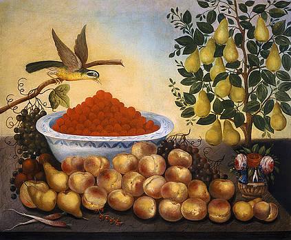 Charles V Bond - Still Life Fruit Bird and Dwarf Pear Tree