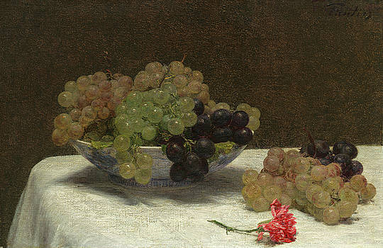 Still Life With Grapes And A Carnation by Henri Fantin-Latour