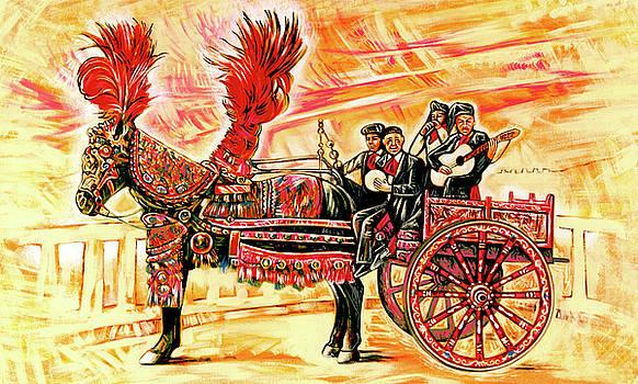 Study of Sicilian Cart and four musicians by Ismaele Alongi