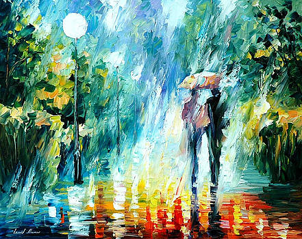 Summer Rain - PALETTE KNIFE Oil Painting On Canvas By Leonid Afremov by Leonid Afremov