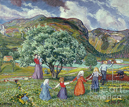 Summer wind and playing children by Nikolai Astrup