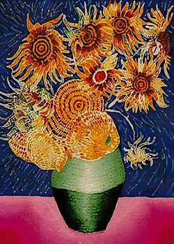 Sunflowers In Green Vase by Brenda Adams