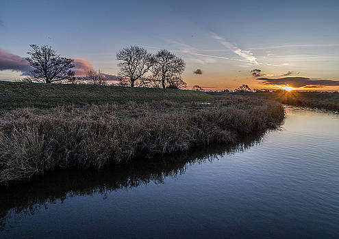 Sunrise by drone over the River Wyre by Russell Millner