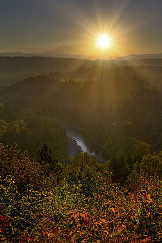 Sunrise over Mount Hood and Sandy River by David Gn