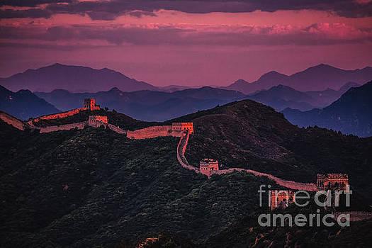 Sunset at Jinshanling Great Wall by Adrian Baljeu