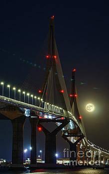 Supermoon Over 1812 Constitution Bridge Cadiz Spain by Pablo Avanzini