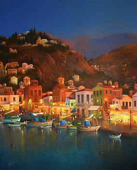 Symi Harbour Greece by Joe Gilronan