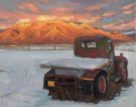 Taos Truck in the Snow by Elizabeth Jose