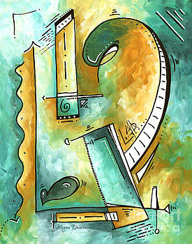 Teal Dreams Fun Funky Original PoP Art Style Abstract Painting by Megan Duncanson by Megan Duncanson