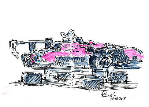 Frank Ramspott - Team One Motorsports Elan DP02 Ink Drawing and Watercolor