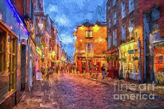 Temple Bar district in Dublin at night by Patricia Hofmeester