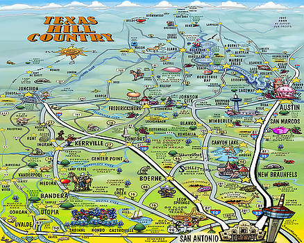Kevin Middleton - Texas Hill Country Cartoon Map
