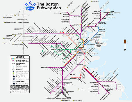 The Boston Pubway Map II by Unquestionable Taste