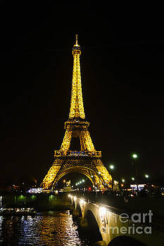 The Eiffel tower at night illuminated, Paris, France. by Perry Van Munster