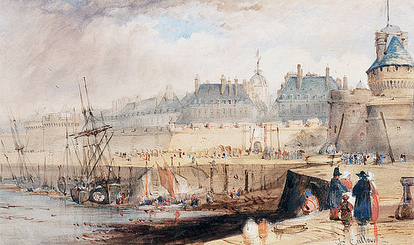 William Callow -  The Harbor of St. Malo at Low Tide