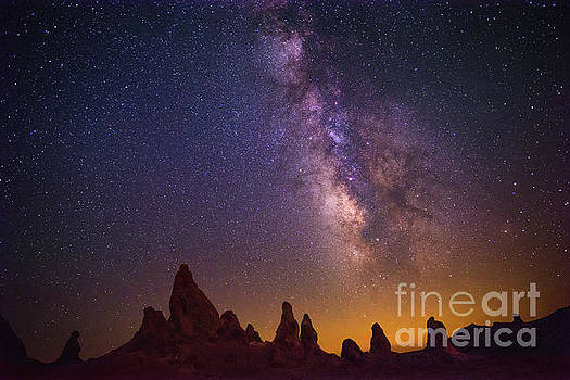 The Milky Way Galaxy over the Trona Pinnacles in California. by Jamie Pham