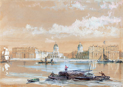 David Roberts - The Naval College from the River at Greenwich