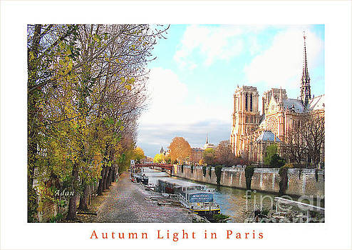 Felipe Adan Lerma - The Seine And Quay Beside Notre Dame, Autumn Greeting Card Poster