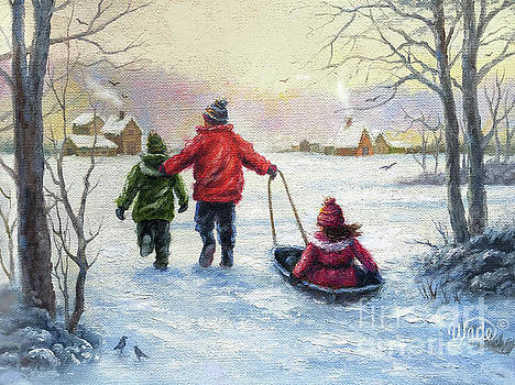 Three Children Sledding by Vickie Wade