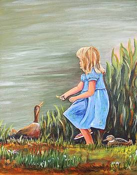 Tori and her ducks by Patricia Piffath