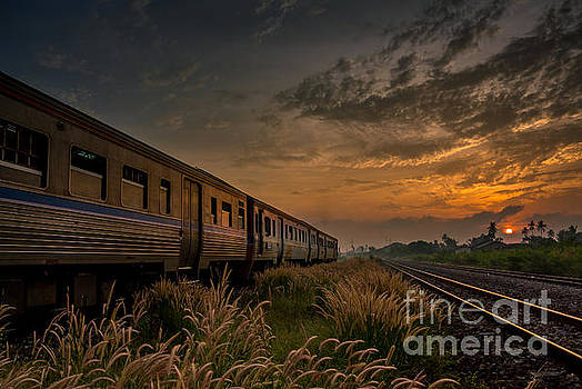 Train Passing by over Rural Railway in the Morning or at Dawn wi by Thampapon Otavorn