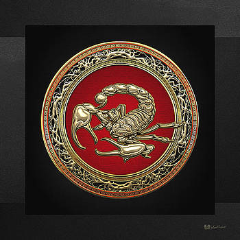 Treasure Trove - Sacred Golden Scorpion on Black by Serge Averbukh
