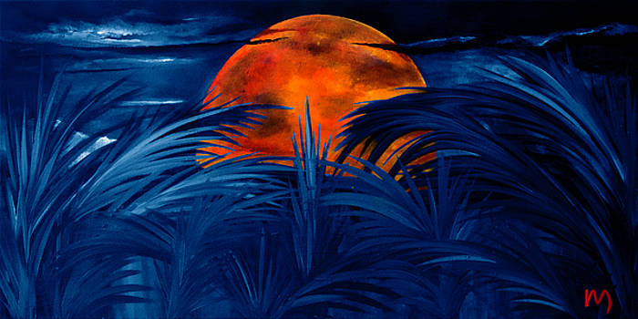 Tropical moon navy blue by Rolly Mouchaty