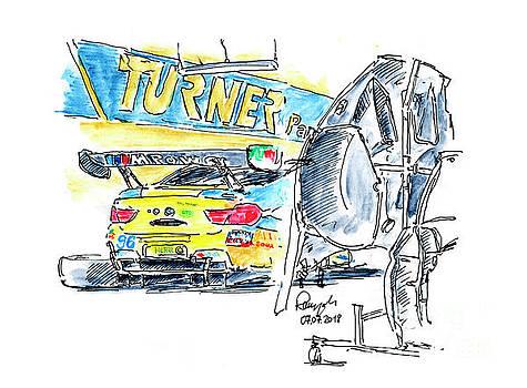 Frank Ramspott - Turner Motorsport BMW M6 GT3 Ink Drawing and Watercolor