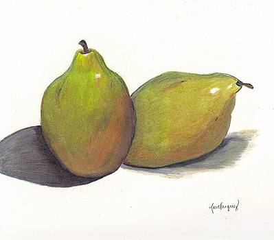 Two green pears by Lea Velasquez