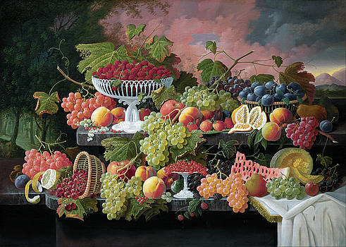 Two Tiered Still Life with Fruit and Sunset Landscape by Severin Roesen