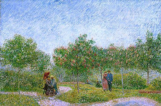 Van Gogh Garden in Montmartre with Lovers by Vincent van Gogh