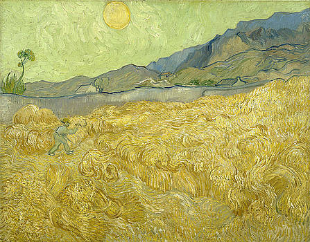 Van Gogh Wheat Fields Reaper Sunrise by Vincent Van Gogh