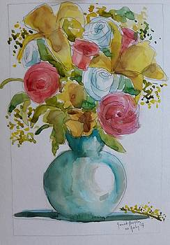 Flowers in a turquoise vase by Janet Butler
