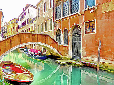 Venice Canal with Bridge by Bishopston Fine Art