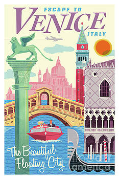 Venice Poster - Retro Travel  by Jim Zahniser