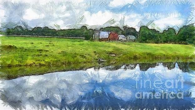 Edward Fielding - Vermont Farm Landscape Pencil
