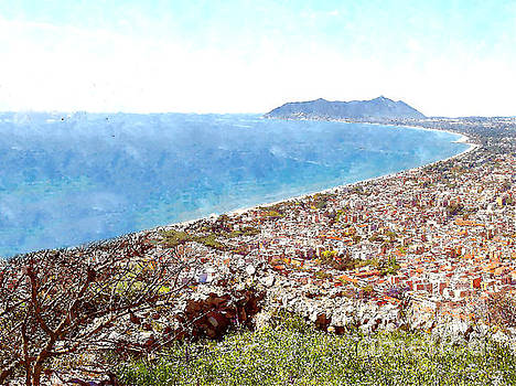 View of the village's cityscape, the gulf to Mount Circeo by Giuseppe Cocco