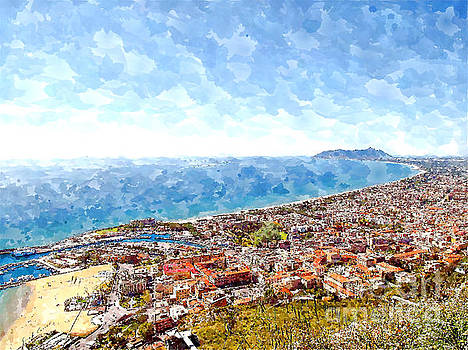 View of the village's cityscape with port and the gulf to Mount Circeo by Giuseppe Cocco