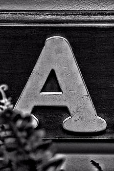 Vintage Letter A Black and White by Kyle West