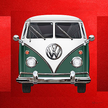 Volkswagen Type 2 - Green and White Volkswagen T 1 Samba Bus over Red Canvas  by Serge Averbukh