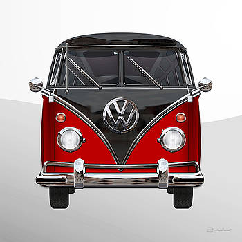 Serge Averbukh - Volkswagen Type 2 - Red and Black Volkswagen T 1 Samba Bus on White